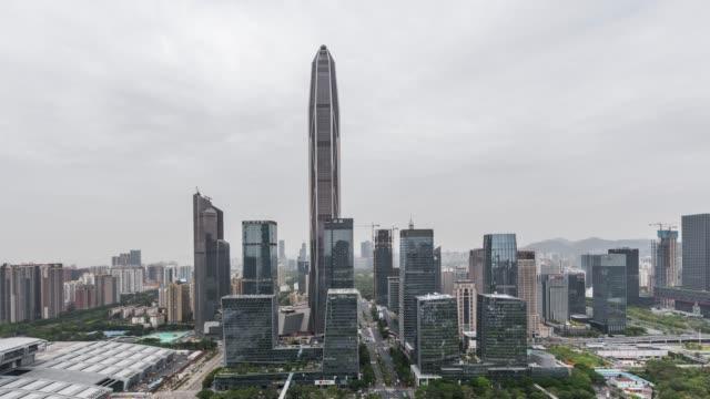 T/L TU High Angle View of Shenzhen Skyline / Guangdong, China video