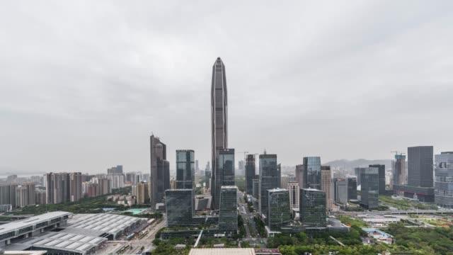 T/L ZI High Angle View of Shenzhen Skyline / Guangdong, China video
