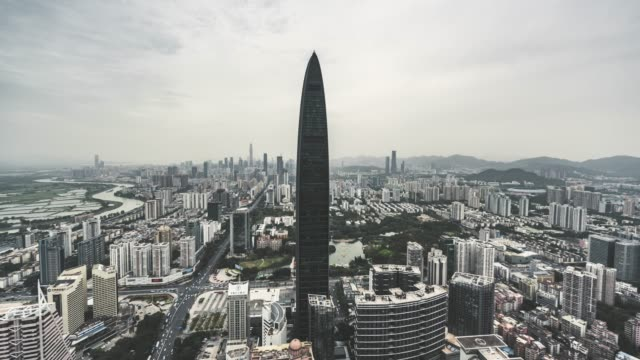 T/L ZO High Angle View of Shenzhen Skyline video