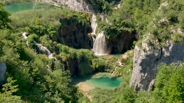 High Angle View Of Veliki Slap Waterfall The Highest At Plitvice video