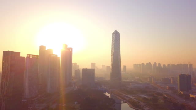 High angle view sunlight at Incheon city of South Korea High angle view sunlight at Incheon city of South Korea namsan seoul stock videos & royalty-free footage