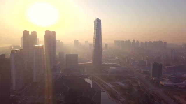 high angle view sunlight at incheon city of south korea - cultura coreana video stock e b–roll