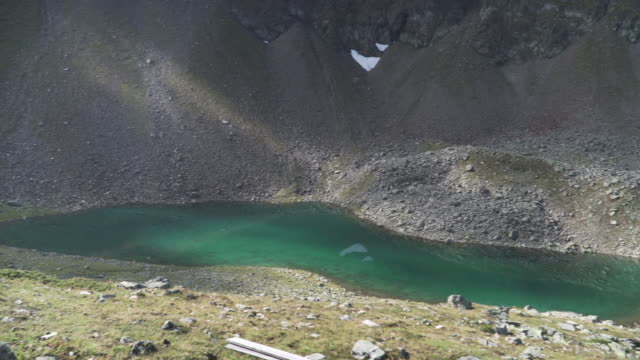 High angle view to see Oberer Plenderlessee, Gossenköllesee, Kühtai, Tyrol, Austria