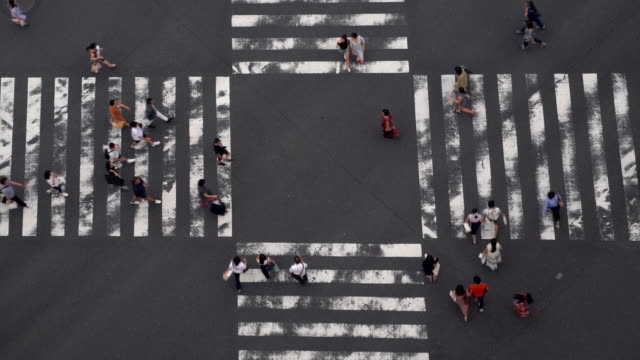 4k high angle view wide shot of pedestrian people crowd man and woman walking cross intersection street crosswalk with shadow on the road in afternoon summer day at ginza, tokyo, japan. - общий план перспектива стоковые видео и кадры b-roll