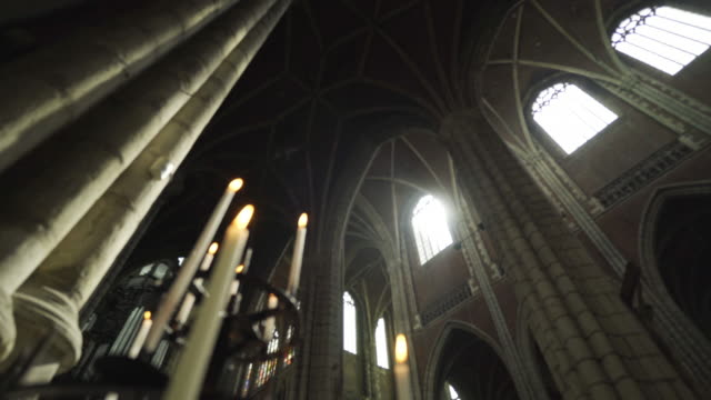 high columns in cathedral - gothic architecture stock videos & royalty-free footage