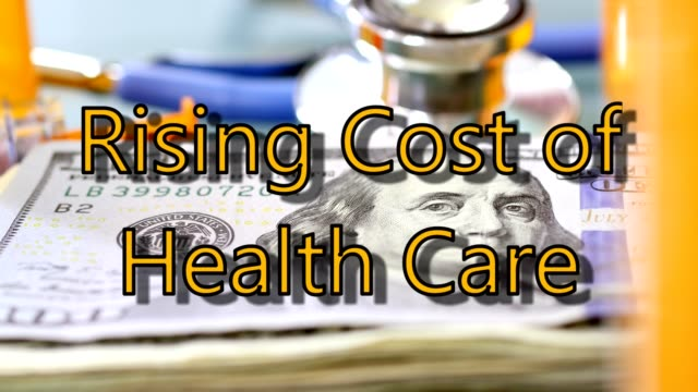 High cost of healthcare. US currency, prescription medicines, stethoscope. video