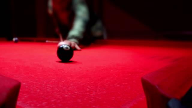 High definition of man playing pool - billiards. UHD Sony 4k shoot video