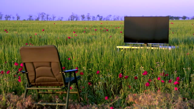 High definition plasma TV in the green field video
