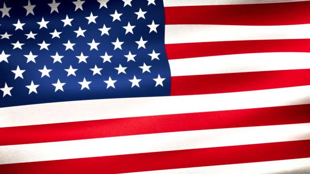 high detail american flag seamless loop - bandiera degli stati uniti video stock e b–roll