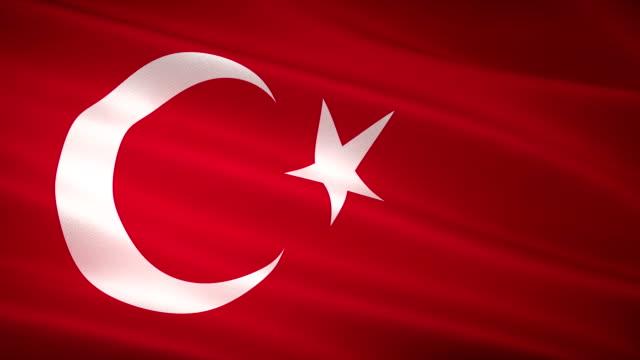hoher detailgrad türkische flagge seamless loop - ankara türkei stock-videos und b-roll-filmmaterial