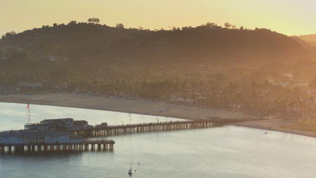 High Drone Shot Approaching Stearns Wharf, Santa Barbara video