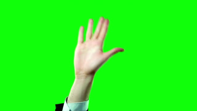 High Five by Business Man in Suit on Green Screen in 4 Variations Video Set.