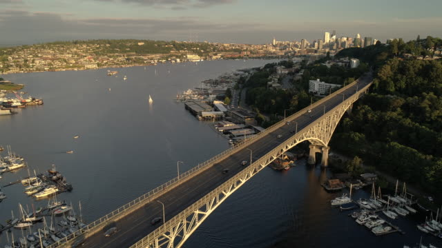 High Helicopter Aerial of Seattle City Bridge with Cars in Commute Home video