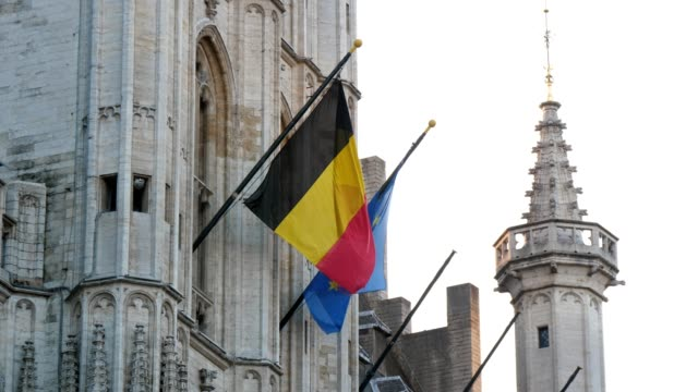 high historic building with soaring flags of belgium and european union in slo-mo - belgio video stock e b–roll