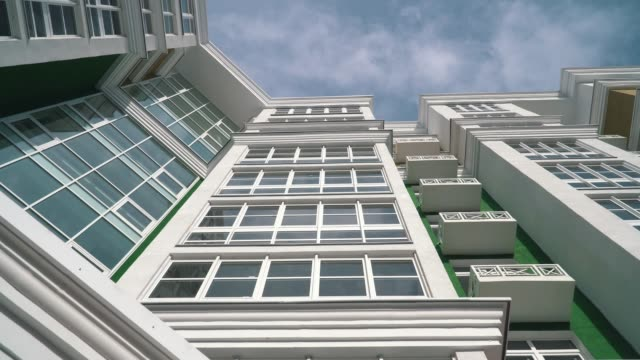 high modern building with wide balconies and large windows video