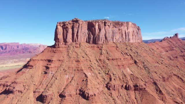High Red Butte Rock Monuments In Valley Colorado River Canyon Aerial View