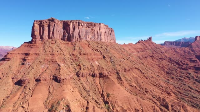 high red remains rock monuments in valley colorado river canyon aerial view - red rock video stock e b–roll