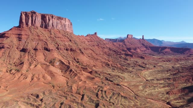 High Red Rock Monuments Butte In The Colorado River Canyon Aerial View