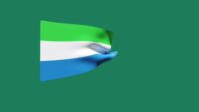 high resolution video of a 3d rendered sierra leone flag, moving on a green background. - sierra leone video stock e b–roll