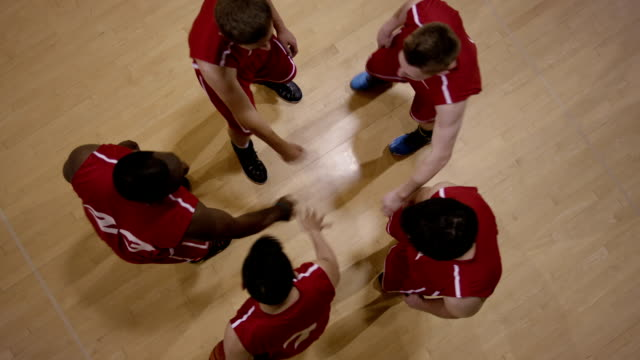 High school basketball players in huddle video