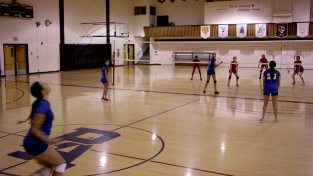 high school girls volleyball - volleyball stock videos and b-roll footage