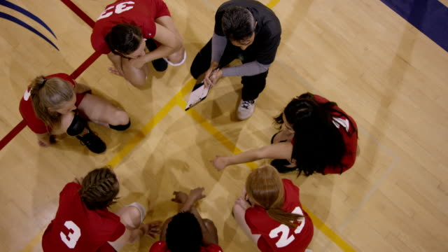 High School Girls Volleyball with coach A high school girls volleyball team being instructed by their coach volleyball sport stock videos & royalty-free footage