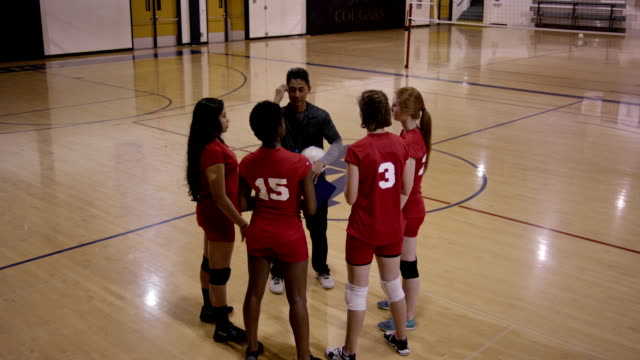 High School Girls Volleyball with coach video