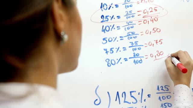 High school teacher teaching a maths lesson to her student video