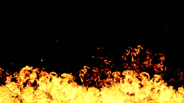 high speed fire ball explosion towards to camera, cross frame ahead transition, slow motion fire flamethrower isolated on black background with alpha channel, perfect for cinema, digital composition. - fiamma video stock e b–roll
