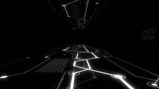 High speed track with binary code connections glowing in dark space.