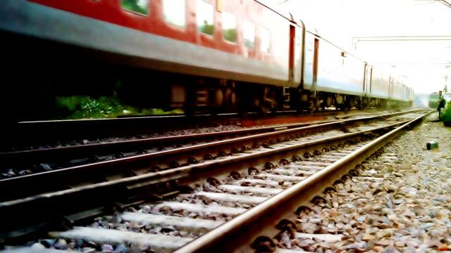 High speed train moving forward HD1080p: High speed train elevated view moving forward. haryana stock videos & royalty-free footage