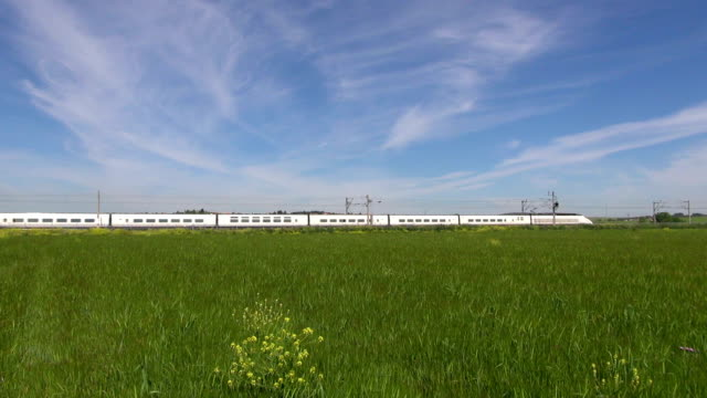 high speed train over green field video