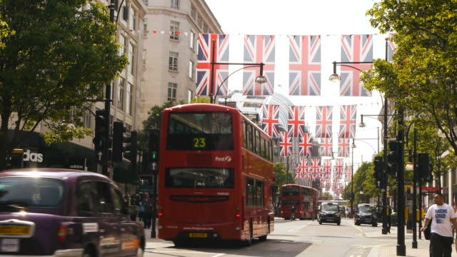 high street in london with union jacks video