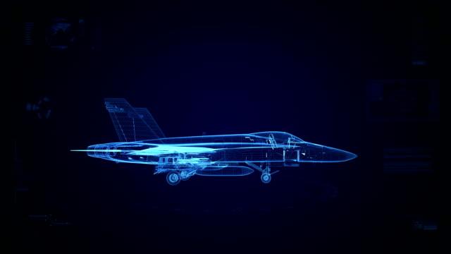 High tech fighter jet background video