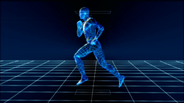 high tech running man (loop) - sports medicine stock videos and b-roll footage