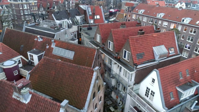 high top view european city - dutch architecture stock videos & royalty-free footage