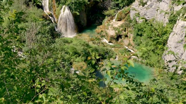 High View Of Veliki Slap Waterfall At Plitvice Lakes In Croatia video