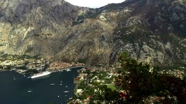 vídeos de stock e filmes b-roll de high view the bay of kotor with liners - transatlântico