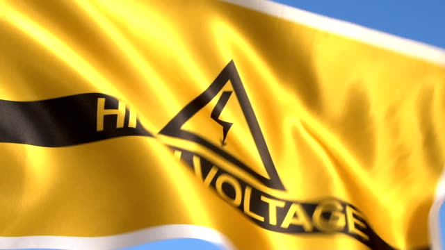 High Voltage Flag Waving in sky