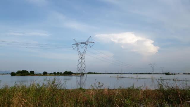 High voltage pole at wetland.