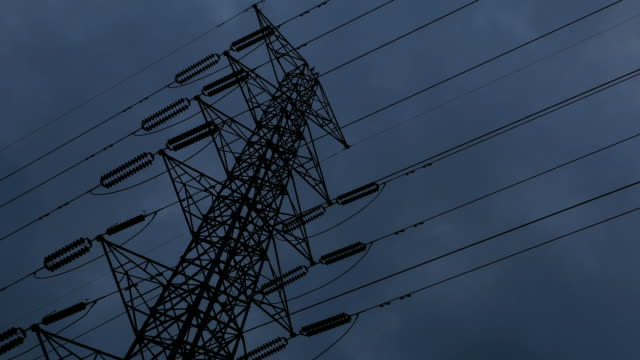 High voltage poles. Time Lapse video