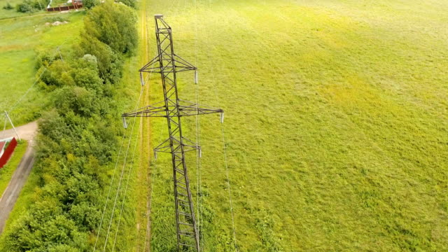 High voltage power line. Aerial view