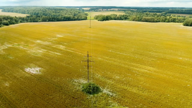 High voltage power line. Aerial view video