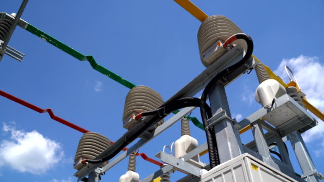 High Voltage Transformer Equipment High voltage transformer equipment in a solar power station high voltage sign stock videos & royalty-free footage