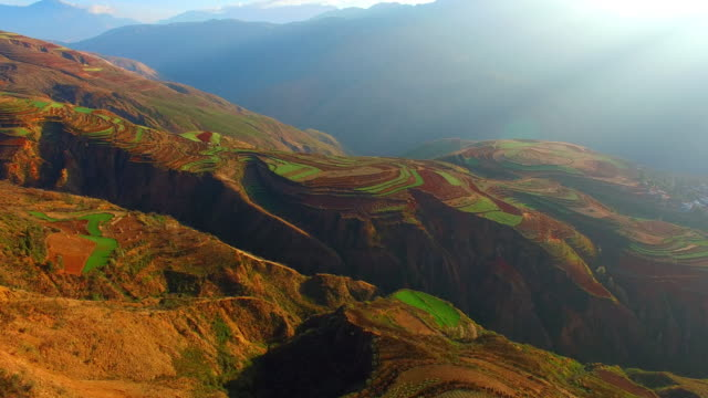 High-altitude aerial Rice paddy,Yunnan,China video