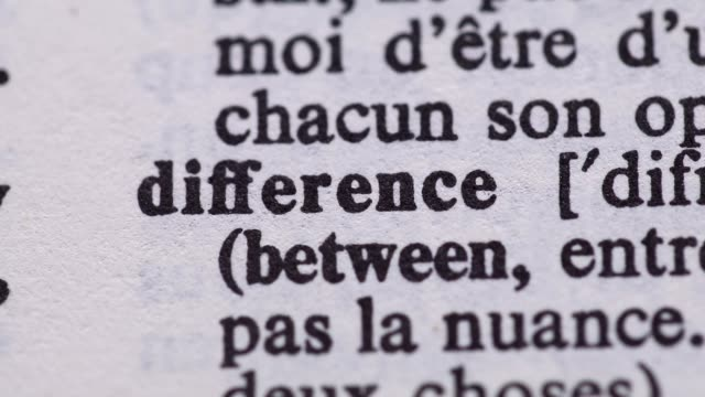 Highlighting the word DIFFERENCE definition. Signaling the meaning of having DIFFERENCES video