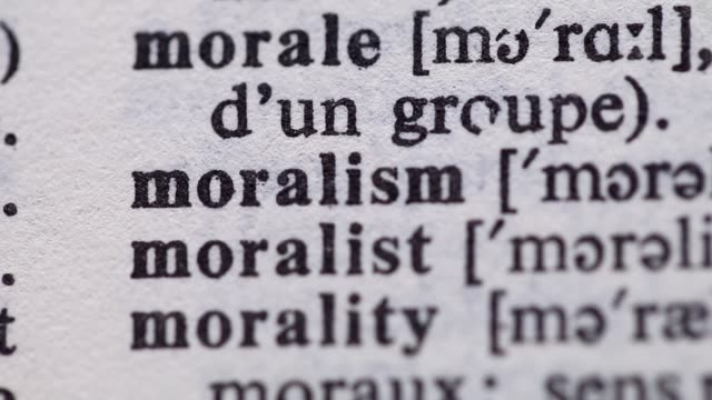 Highlighting the word MORALISM definition. Signaling the meaning of MORALITY video