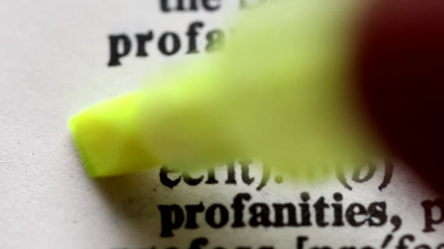Highlighting the word PROFANITY definition. Signaling the meaning of being PROFANE video