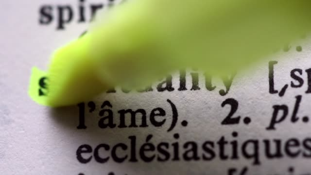 Highlighting the word SPIRITUALITY definition. Signaling the meaning of SPIRITUALITY video