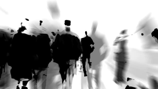 dense folla a piedi attraverso un ponte: estremamente ridotto realtà (loop) - city walking background video stock e b–roll